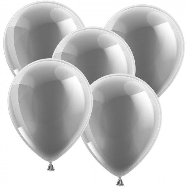 100 Latexballons - Metallic Silber 30cm - Rund