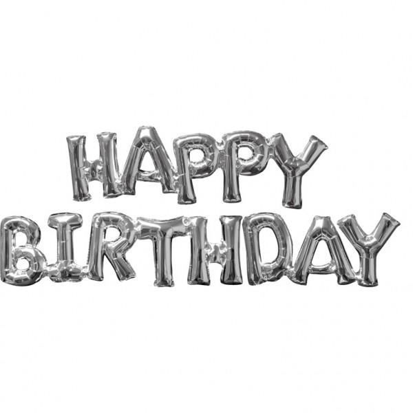 """HAPPY BIRTHDAY"" Silber 2 Folienballons"