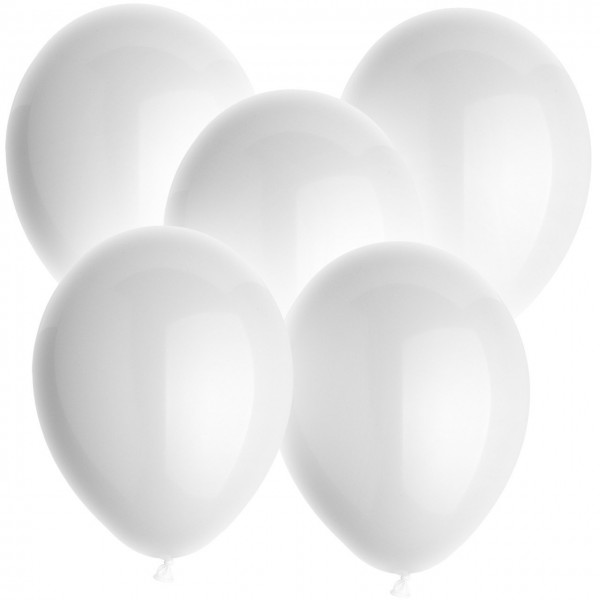 100 Latexballon - Weiss - Ø 30cm - Rund