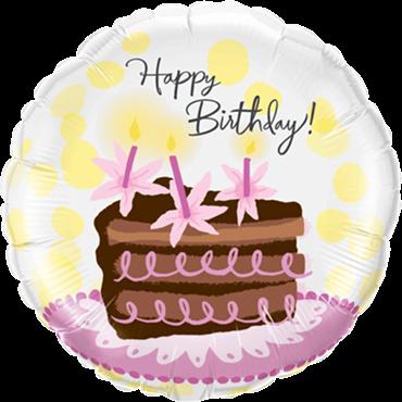 Geburtstags-Schokoladen-Kuchen-Scheiben-Folienballon