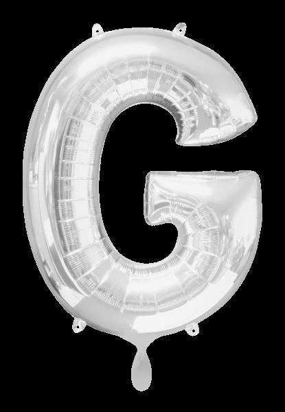 Buchstabenballon Silber XXL G