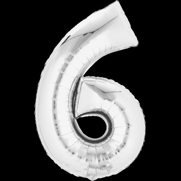 Zahlenballon XXL Silber 6
