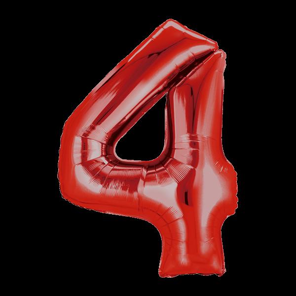 Zahlenballon XXL Rot 4