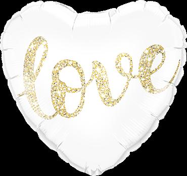 Love Glitter Gold Folienballon herzförmig