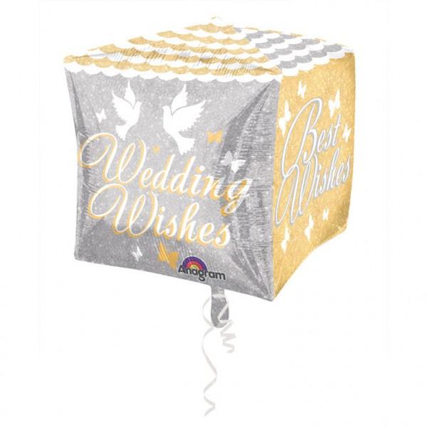 Cubez Shimmering Wedding Wishes Folienballon 38 x 38 cm