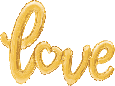 """Love"" Schrift Gold Folienballon"