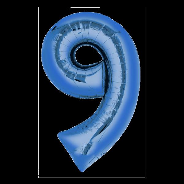 Zahlenballon XXL Blau 9