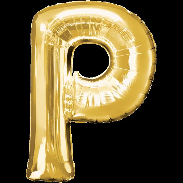 Buchstabenballon Gold XXL P
