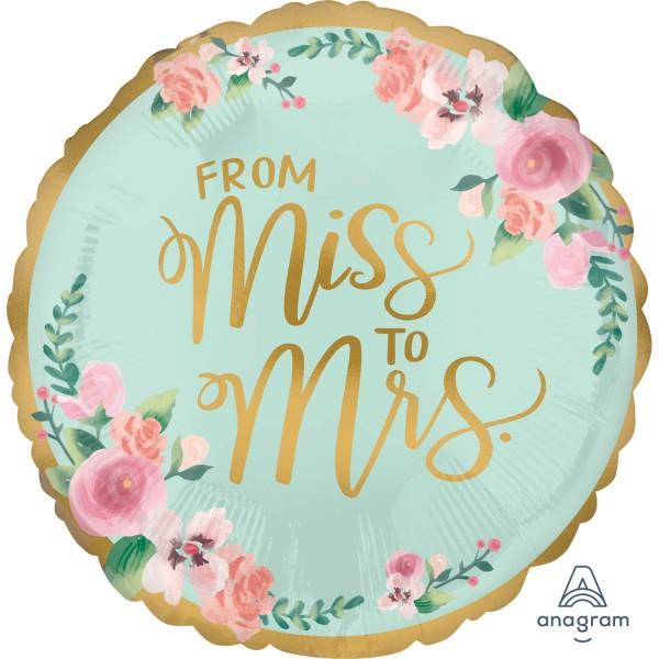"Standard ""From Miss to Mrs"" Satin-Folienballon"