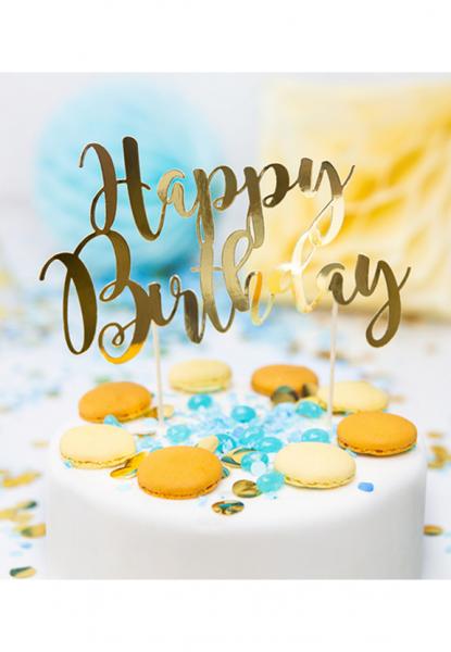 Cake Topper - Happy Birthday - Gold
