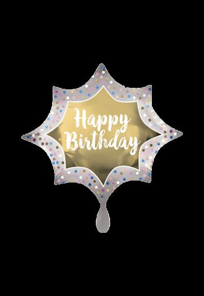"""""""Happy Birthday"""" Geburtstag Satin Gold Burst Folienballon"""