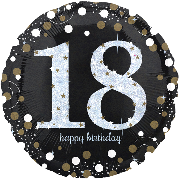 Zahl 18 Folienballon Rund Holografisch