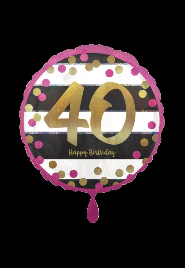Pink & Gold Milestone 40 Folienballon
