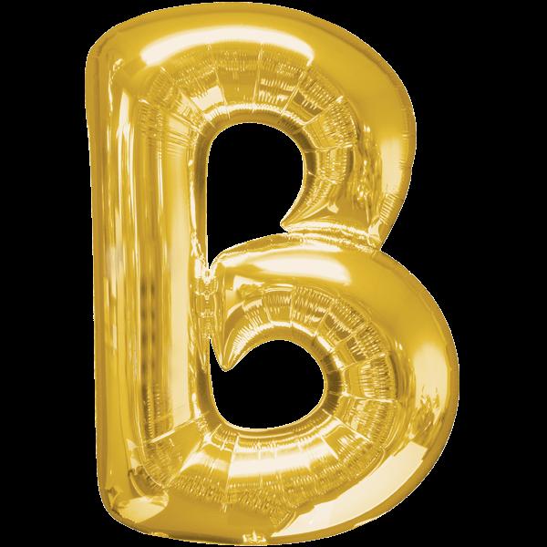 """Buchstabe """"B"""" Gold Folienballon"""