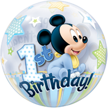 Mickey Mouse 1. Geburtstag Single Bubble 22in / 55cm