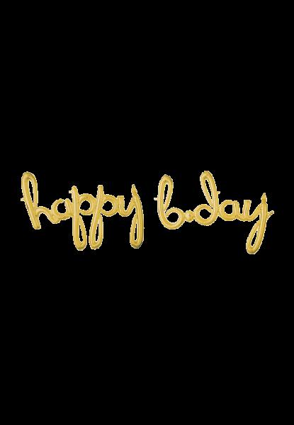 Happy b.day Schriftzug Gold Folienballon