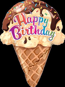 """Happy Birthday"" Geburtstags-Eistüte Folienballon"