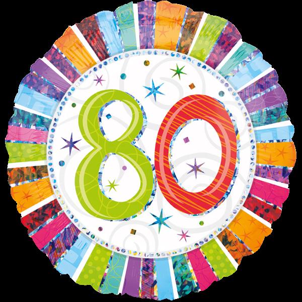 Zahl 80 Folienballon Rund holographisch
