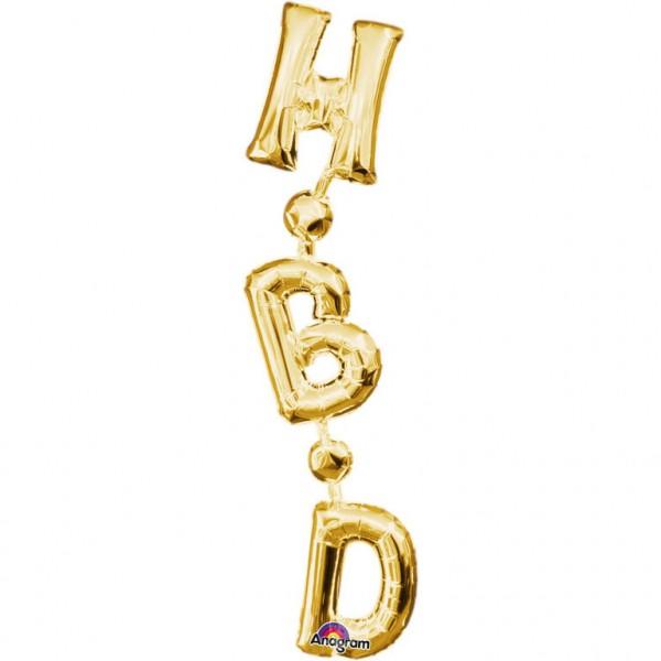 """HBD"" Set-Vertikal Gold Folienballon"