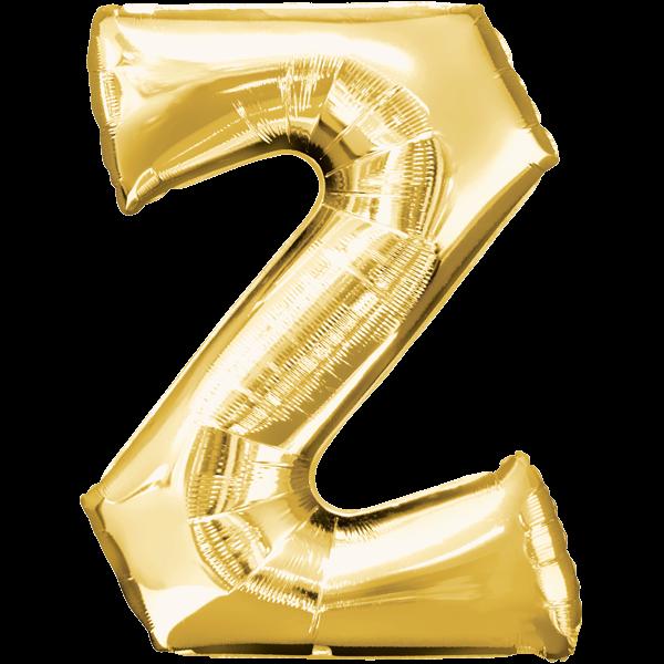 Buchstabe Z Gold Folienballon verpackt 25cm x 33cm