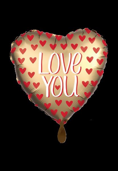 "Satin herzförmig ""Love You"" Gold Folienballon - Ø 43cm"