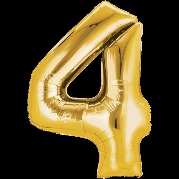 Zahlenballon XXL Gold 4