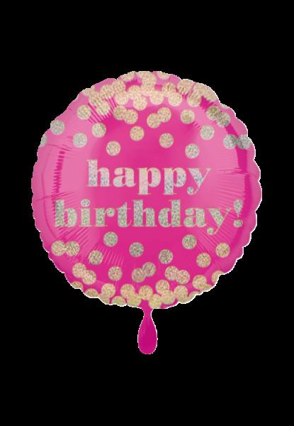 """Happy Birthday"" Geburtstags-Folienballon Pink Gold"
