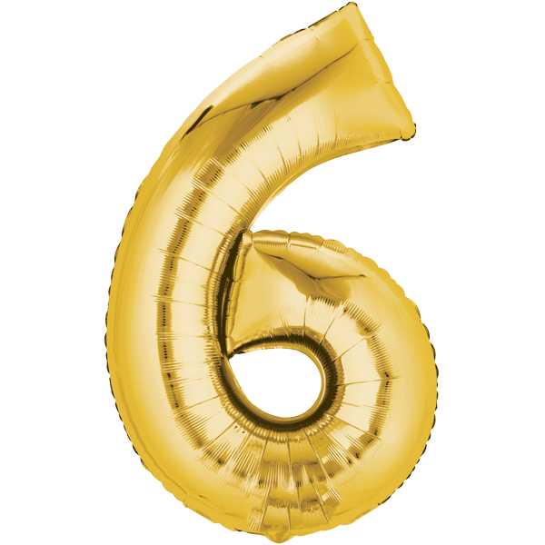 Zahlenballon XXL Gold 6