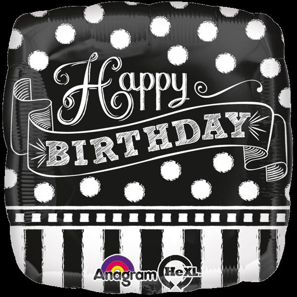 Happy Birthday Geburtstagsballon Folienballon Schwarz Weiß