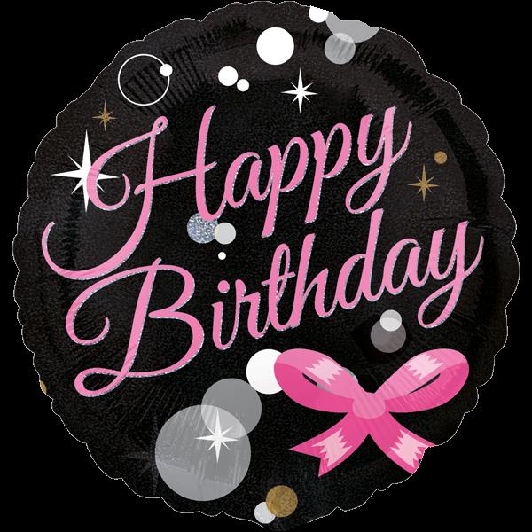 Holografisch Happy Birthday Folienballon mit pinken Schleife