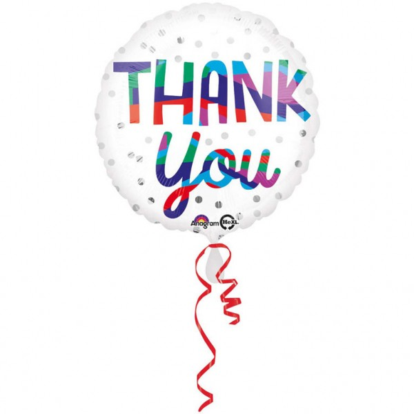 Thank You silberne Punkte Folienballon