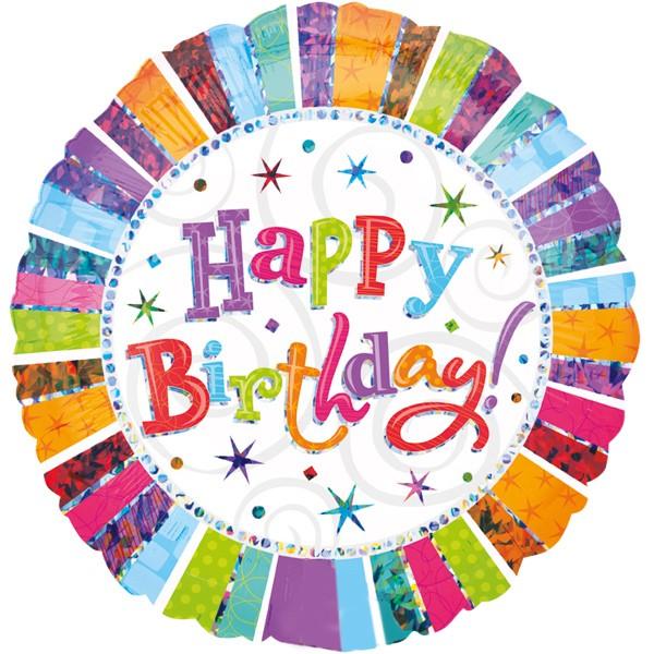 Holografisch bunt Happy Birthday Folienballon