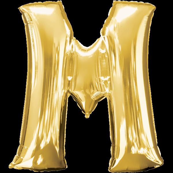 Buchstabenballon XXL Gold M