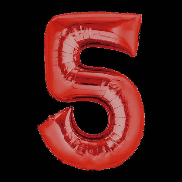 Zahlenballon XXL rot 5