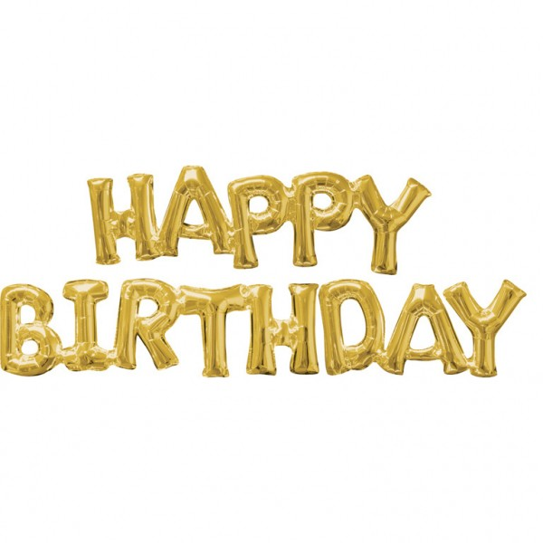 """HAPPY BIRTHDAY"" 2 Gold Folienballons"