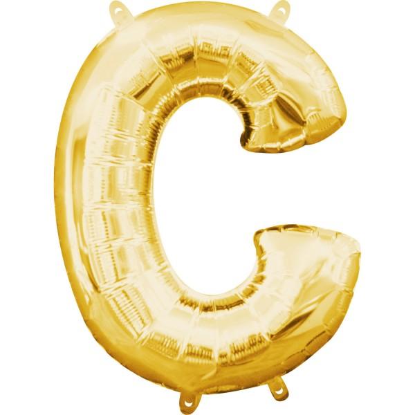 Buchstabe C Gold Folienballon verpackt 22cm x 33cm