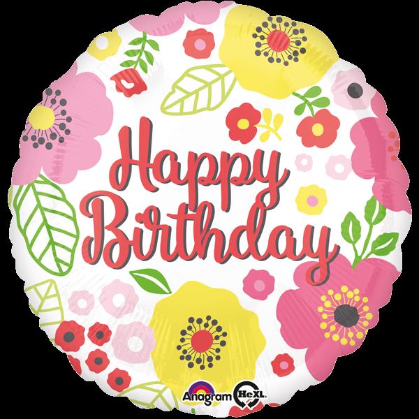 Happy Birthday Geburtstagsballon Folienballon Blume