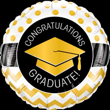 Graduate Gold Chevron Dots Folienform rund Folienballon
