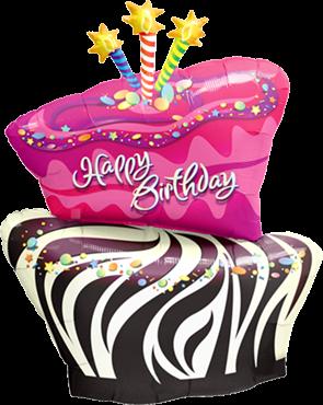 Birthday Funky Zebra Stripe Cake Folienballon