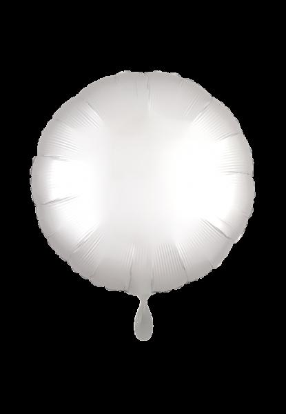 Rund - Satin Luxe - Weißer Folienballon - Ø 45cm