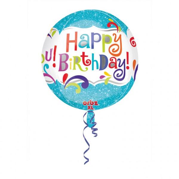 Orbz Happy Birthday Splashy Sparkle Folienballon