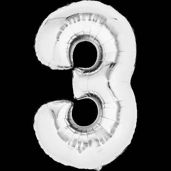 Zahlenballon XXL Silber 3