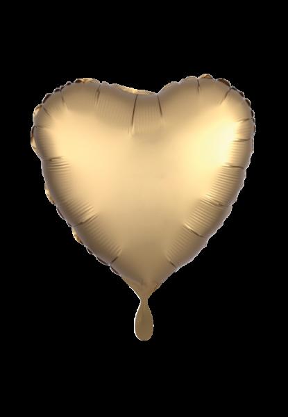 Herz - Satin Luxe - Gold Folienballon - Ø 45cm