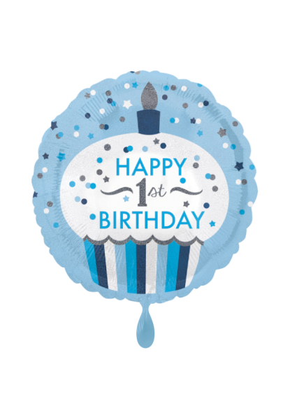 Happy 1st Birthday Boy Cupcake Folienballon