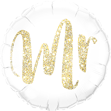 """Mr"" Glitzer Gold Folienballon rund"