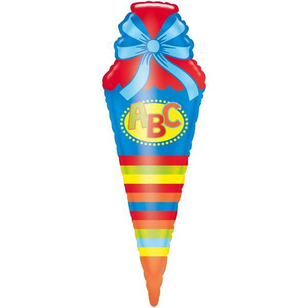 1 Folienballon - Ø 111cm - Schultüte ABC