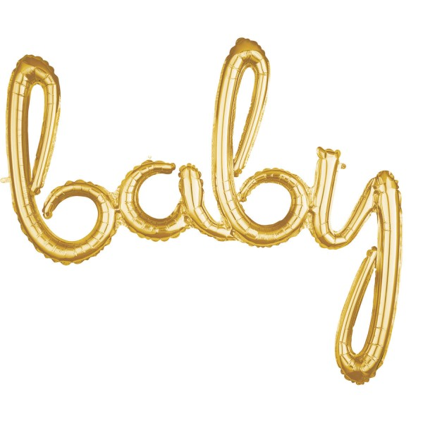 Skriptwort `Baby` Gold Folienballon