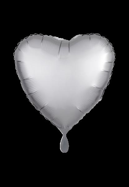 Satin Luxe Herz Silber Folienballon