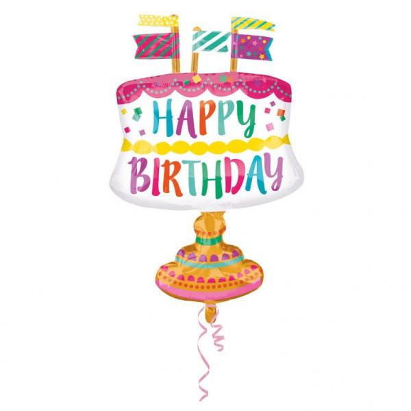 Folienballon Torte-mit-lustigen-Fähnchen