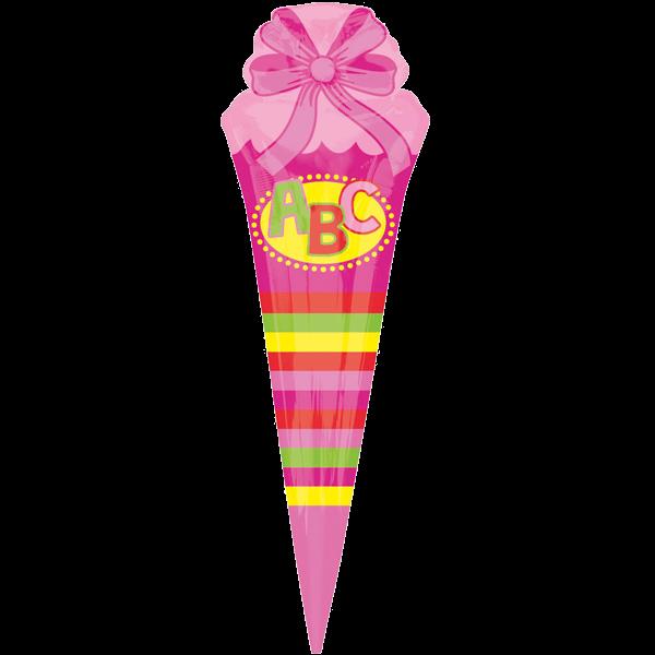 1 Folienballon - Ø 111cm - Schultüte Pink